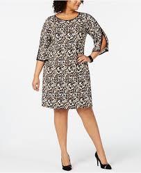 Plus Size Animal Print Split Sleeve Dress