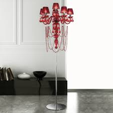 modern red crystal chandelier floor lamp