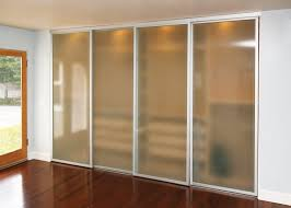 frosted glass sliding closet doors with silver frame