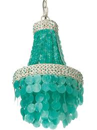 aqua chandelier and red chandelier shades