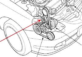 diy serpentine drive belt change club rsx message board 4 you have to wrench the auto tensioner to relieve tension from the belt red arrow is the auto tensioner