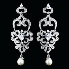 pearl chandelier earrings antique silver diamond white pearl chandelier earrings wedding bridal jewellery how divine white gold pearl chandelier earrings
