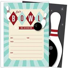 Bowling Party Invitations Amazon Com Bowling Party Invitations Set Of 25 Fill In Style