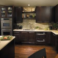kitchens with dark brown cabinets. Kitchen Inspiration, Brown Cabinets, Light Counter Tops, Shelves Above The Sink Kitchens With Dark Cabinets I