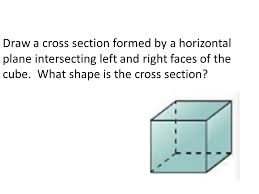 intersecting planes cube. draw a cross section formed by horizontal plane intersecting left and right faces of the planes cube