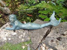 cast iron rustic aged style mermaid