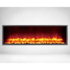 built in led electric fireplace in black matt