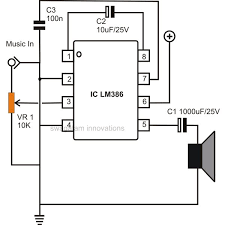 how to build small simple audio amplifiers using ic lm386 simple low power audio amplifier circuit diagram using ic lm386 a gain of 200