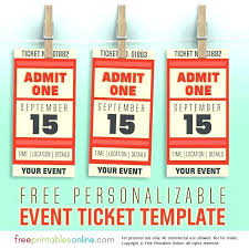Latest Of Blank Admit One Ticket Template Printable Raffle Best