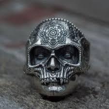 316L <b>Stainless Steel Sugar</b> Skull Ring Mens Mandala Flower <b>Punk</b> ...