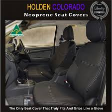 holden colorado rg apr12 now full back front seat covers with map pockets rear seat covers armrest access snug fit premium neoprene