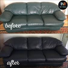90s teal leather couch gets a modern look with midnight blue leather paint by rub n re