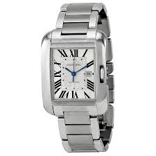 cartier tank anglaise watches jomashop cartier tank anglaise silver dial stainless steel bracelet men s watch