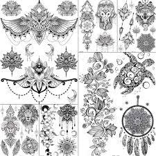 индии серьги Henna Mandala цветок черный пользовательские лев