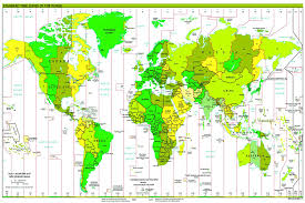 Laminated Standard Time Zones World Map Poster Size 15x22 5 Inches Educational Teaching Resource Wall Chart