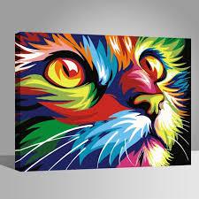 Chat coloré Peintures-DIY-40x50cm-avoir DIY peinture cadre-Toile ...