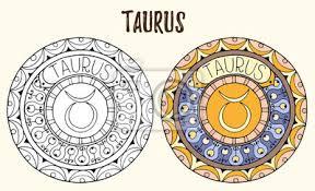 Zodiac Znamení Téma černé A Bílé A Barevné Mandaly S Taurus
