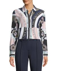 tory burch sienna printed silk crepe shirt in navy