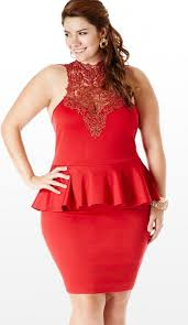 find cheap plus size clothing plus size red peplum dress pluslook eu collection