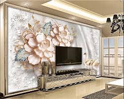 Grote Bloemen Laat Vlinder Baksteen 3d Kamer Reliëf Behang Voor 3d