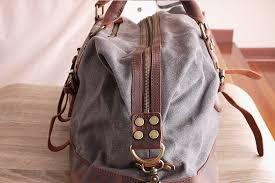 vt canvas retro leather duffle bag grey