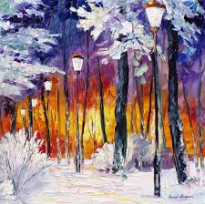 winter fire palette knife oil painting on canvas by leonid afremov size 24