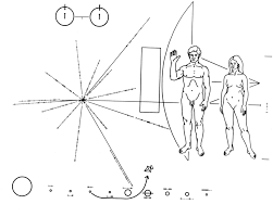 pioneer drawing. the illustrations on pioneer plaque drawing