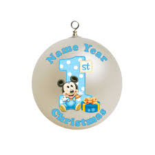 Personalized Baby Boy First Christmas Blue Mickey Mouse With a Big Number  Ornament Custom Gift #2