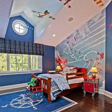 Airplane Themed Bedroom For Toddler Boy Bedroom Decor With High Ceiling  Design And Blue Wall Paint Colors