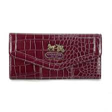 Coach Madison In Embossed Large Dark Red Wallets EDR,coach outlet online, coach sale