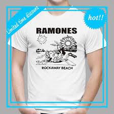 The Ramones Rockaway Beach Punk Rock Band Mens White T Shirt Size S To 3xlshort Sleeve Printed O Neck Tee For Men White T Shirt Design T Shirt Deals