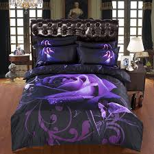 new arrival 3d bedding sets purple rose printed queen size 4pcs print bed set bedclothes bed