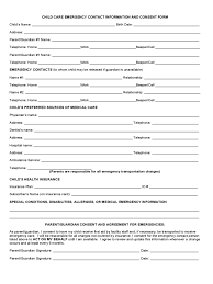 employer emergency contact form template child care emergency contact form 2 free templates in