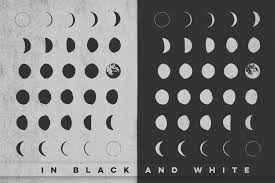 Moon Pattern Inspiration 48 HandDrawn Moon Phases By Rad Radio Graphics TheHungryJPEG