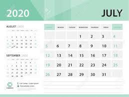 July 2020 Desk Calendar 2020 Vector Design Green Concept For