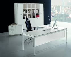 white computer desk with bookshelf square file cabinet executive office chair brown wooden desk top glass
