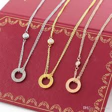 whole love circle necklace with cz diamond pendant rose gold silver color necklace for women vintage collar costume jewelry with original box set