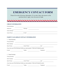 Emergency Contact Forms For Children Emergency Contact Form Template For Child 54 Free Emergency Contact