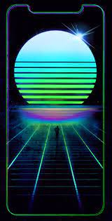 Synthwave iPhone X wallpaper: outrun