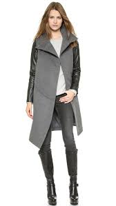 tess giberson funnel neck coat with leather sleeves grey black in gray lyst