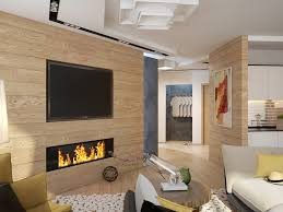 under television modern gas fireplace attached on the wooden wall