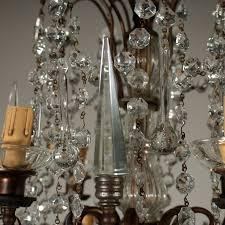 Achtarmiger Kronleuchter Messing Glas Italien 20jahrhundert