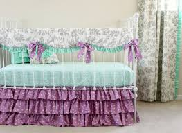 Purple Crib Bedding Mint and Purple baby girl bedding set
