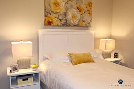 white furniture design. Benjamin Moore Collonade Gray In A Guest Bedroom With Yellow Accents And White Furniture By Kylie M Interiors E-design Color Consulting, Nanaimo Design