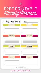 Free Printable Weekly Planner Weekly Planner Printable
