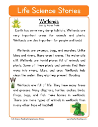 This Reading Comprehension Worksheet - Wetlands is for teaching ...