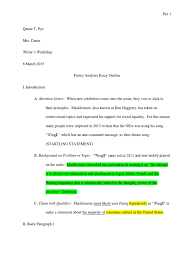 poetic analysis essay sample analysis essay outline how to write a  sample analysis essay outline