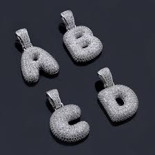 custom silver bubble letter pendants