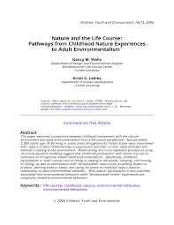 Pdf Nature And The Life Course Pathways From Childhood Nature
