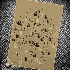 Us 1 99 Music Guitar Chart Vintage Art Poster Retro Wall Painting Bar Cafe Wall Sticker Living Room Print Picture 42x30cm In Wall Stickers From Home